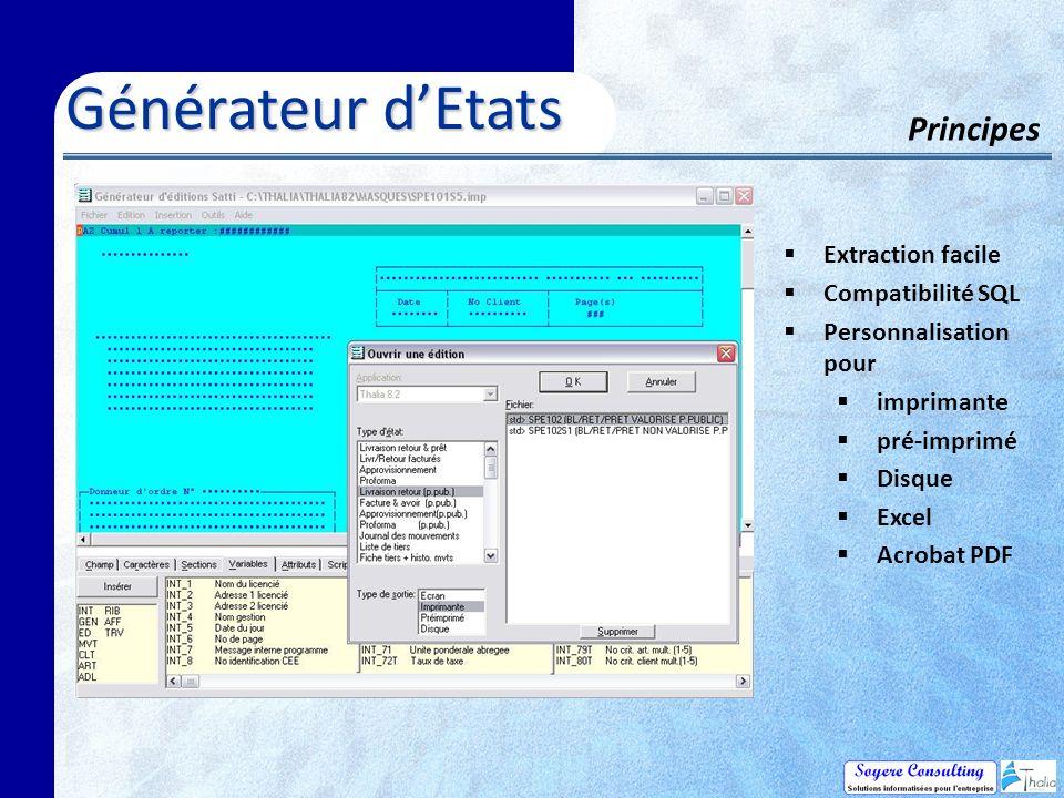 Générateur dEtats Principes Extraction facile Compatibilité SQL Personnalisation pour imprimante pré-imprimé Disque Excel Acrobat PDF