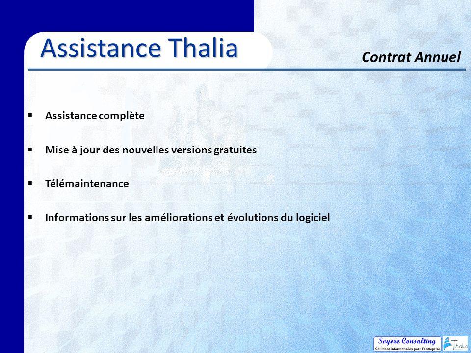 Assistance complète Mise à jour des nouvelles versions gratuites Télémaintenance Informations sur les améliorations et évolutions du logiciel Assistance Thalia Contrat Annuel