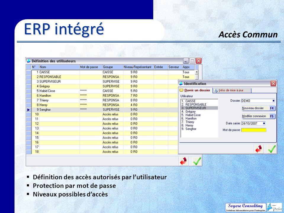 Accès Commun ERP intégré ERP intégré Définition des accès autorisés par lutilisateur Protection par mot de passe Niveaux possibles daccès