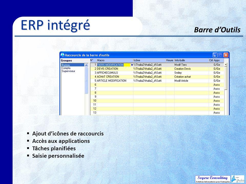 Barre dOutils ERP intégré ERP intégré Ajout dicônes de raccourcis Accès aux applications Tâches planifiées Saisie personnalisée