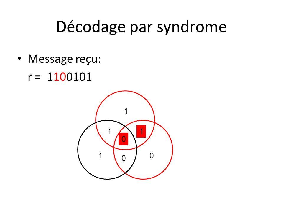 Message reçu: r = 1100101 Décodage par syndrome 1 1 0 1 10 0