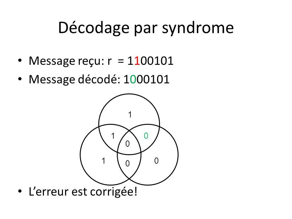 Message reçu: r = 1100101 Message décodé: 1000101 Lerreur est corrigée! 1 1 0 0 10 0
