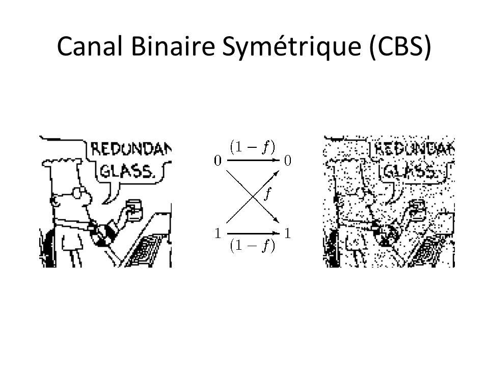 Probabilité derreur pour le CBS Code à répétition R3: mots code: 000; 111.