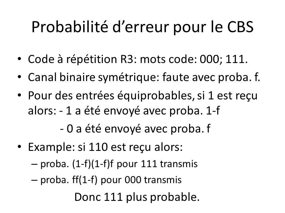 Probabilité derreur pour le CBS Code à répétition R3: mots code: 000; 111. Canal binaire symétrique: faute avec proba. f. Pour des entrées équiprobabl
