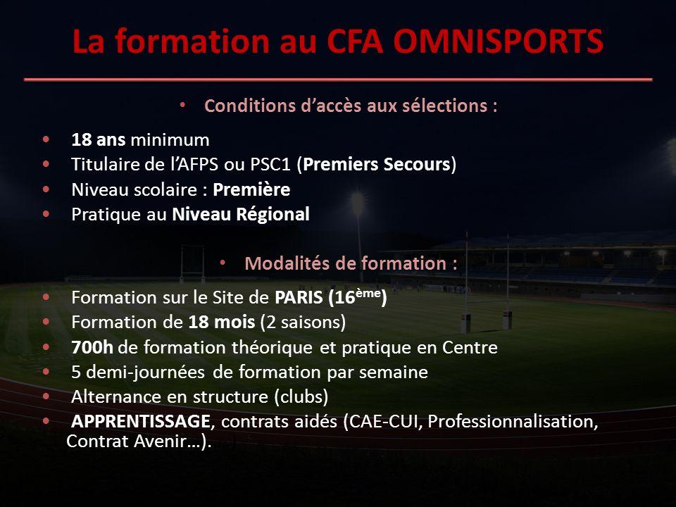 La formation au CFA OMNISPORTS Conditions daccès aux sélections : 18 ans minimum Titulaire de lAFPS ou PSC1 (Premiers Secours) Niveau scolaire : Premi