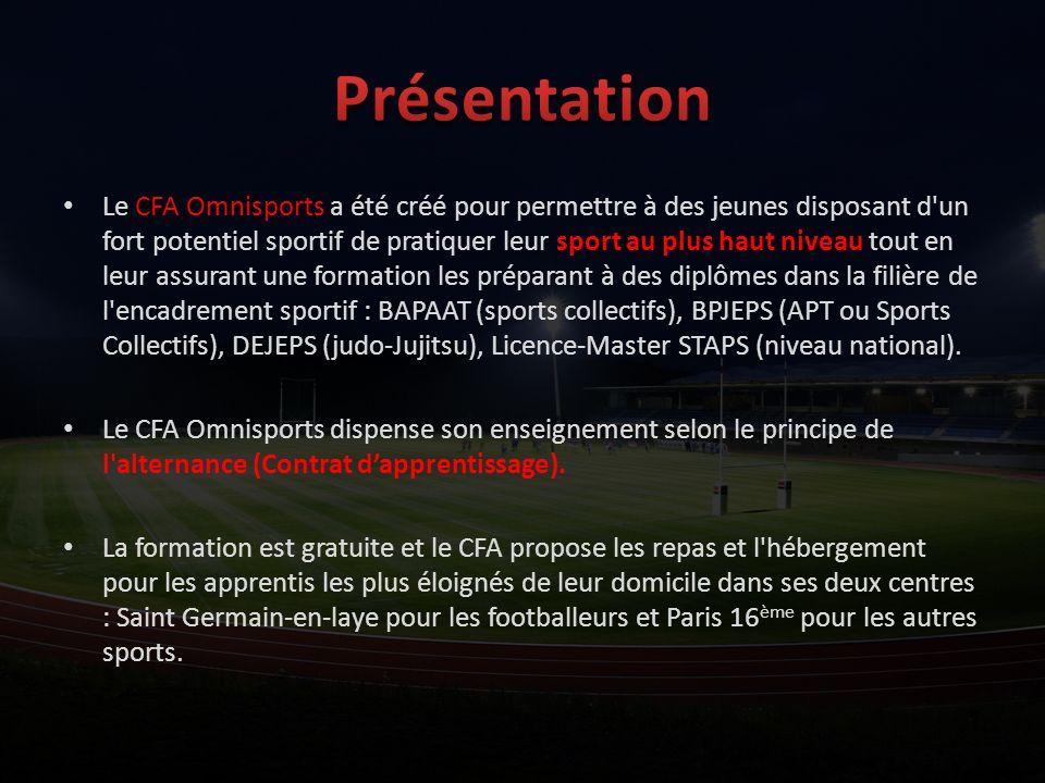 Le CFA Omnisports a été créé pour permettre à des jeunes disposant d'un fort potentiel sportif de pratiquer leur sport au plus haut niveau tout en leu