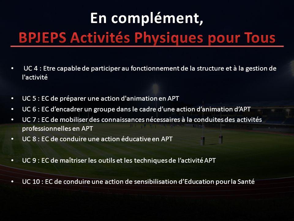 UC 4 : Etre capable de participer au fonctionnement de la structure et à la gestion de l'activité UC 5 : EC de préparer une action d'animation en APT