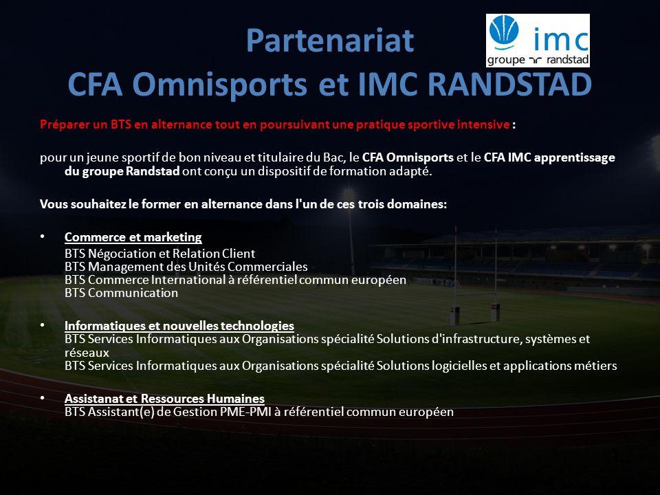 Partenariat CFA Omnisports et IMC RANDSTAD Préparer un BTS en alternance tout en poursuivant une pratique sportive intensive : pour un jeune sportif d