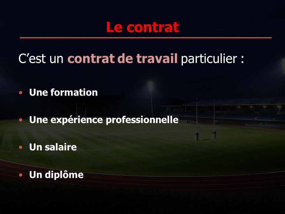 Le contrat Cest un contrat de travail particulier : Une formation Une expérience professionnelle Un salaire Un diplôme