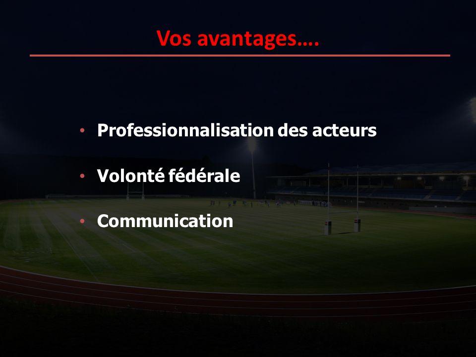 Vos avantages…. Professionnalisation des acteurs Volonté fédérale Communication