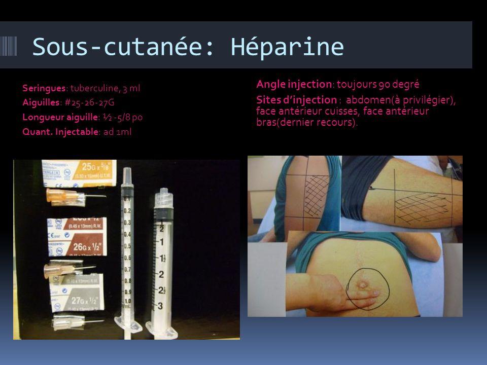 Sous-cutanée: Héparine Seringues: tuberculine, 3 ml Aiguilles: #25-26-27G Longueur aiguille: ½ -5/8 po Quant. Injectable: ad 1ml Angle injection: touj