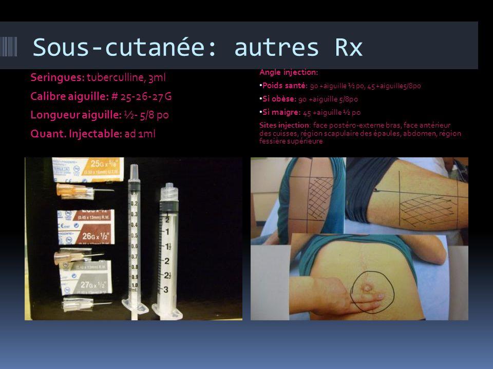Sous-sutanée: insuline Seringue : insuline (gradué avec unité et non ml) Calibre : #25, 26, 27 G Quant.