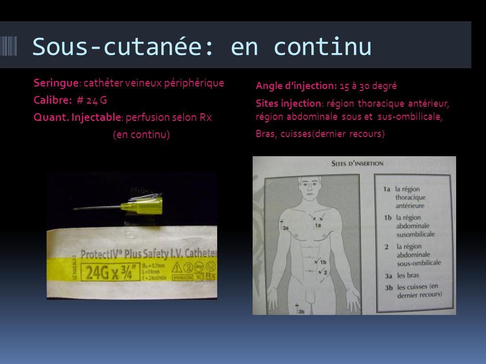 Sous-cutanée: en continu Seringue: cathéter veineux périphérique Calibre: # 24 G Quant. Injectable: perfusion selon Rx (en continu) Angle dinjection: