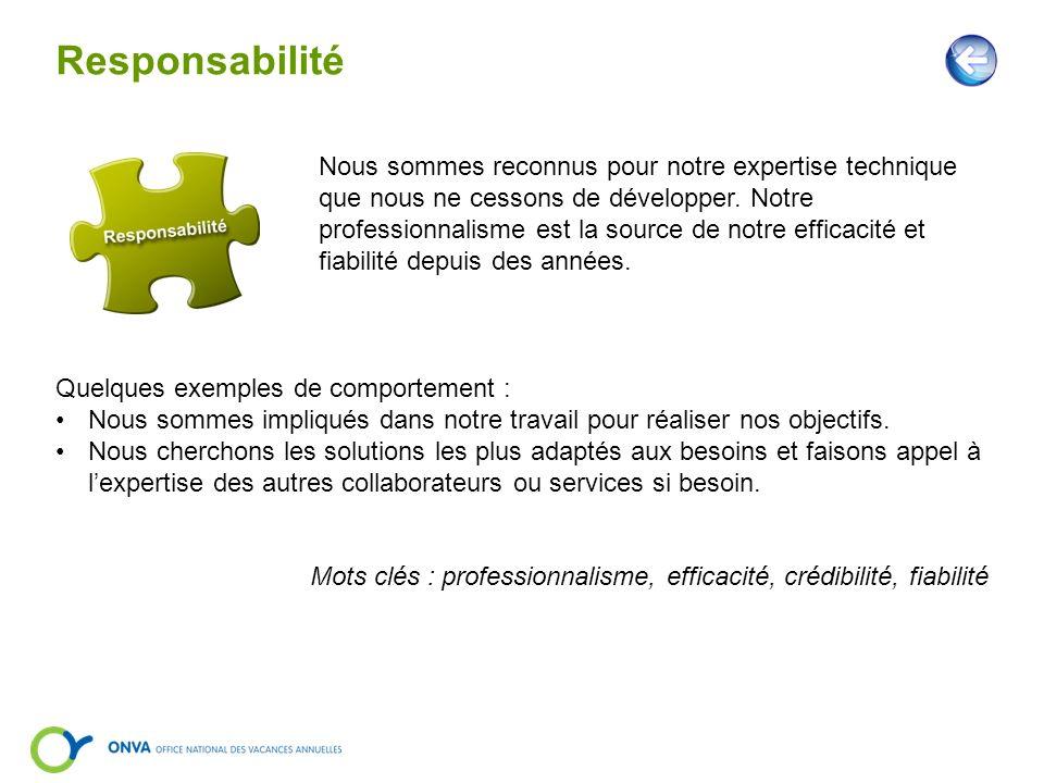 Responsabilité Nous sommes reconnus pour notre expertise technique que nous ne cessons de développer. Notre professionnalisme est la source de notre e