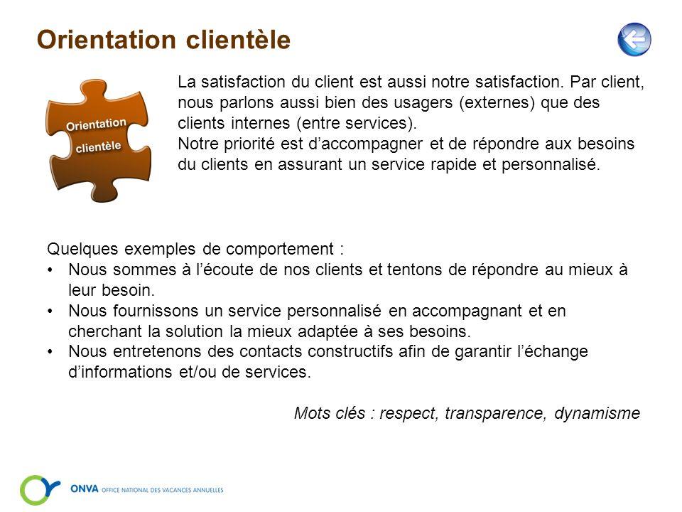 Orientation clientèle La satisfaction du client est aussi notre satisfaction. Par client, nous parlons aussi bien des usagers (externes) que des clien