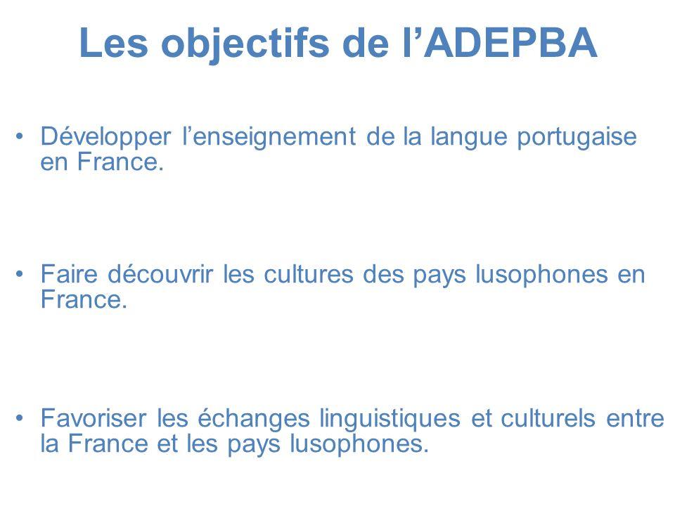 Les objectifs de lADEPBA Développer lenseignement de la langue portugaise en France. Faire découvrir les cultures des pays lusophones en France. Favor