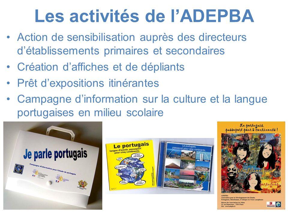 Les activités de lADEPBA Action de sensibilisation auprès des directeurs détablissements primaires et secondaires Création daffiches et de dépliants P