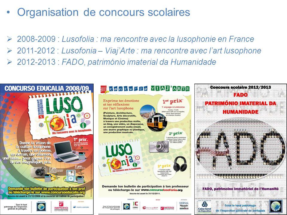 Organisation de concours scolaires 2008-2009 : Lusofolia : ma rencontre avec la lusophonie en France 2011-2012 : Lusofonia – ViajArte : ma rencontre a