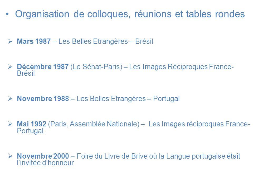 Organisation de colloques, réunions et tables rondes Mars 1987 – Les Belles Etrangères – Brésil Décembre 1987 (Le Sénat-Paris) – Les Images Réciproque