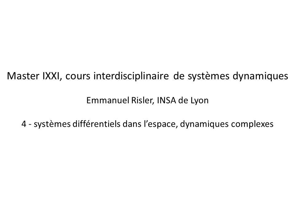 Master IXXI, cours interdisciplinaire de systèmes dynamiques Emmanuel Risler, INSA de Lyon 4 - systèmes différentiels dans lespace, dynamiques complex