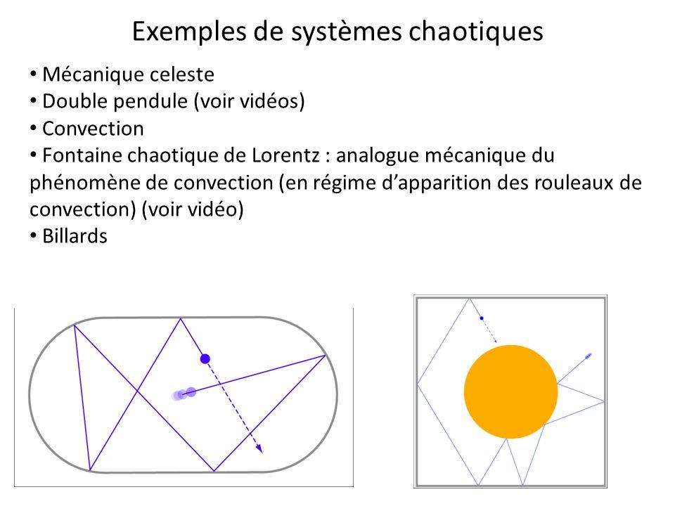 Exemples de systèmes chaotiques Mécanique celeste Double pendule (voir vidéos) Convection Fontaine chaotique de Lorentz : analogue mécanique du phénom