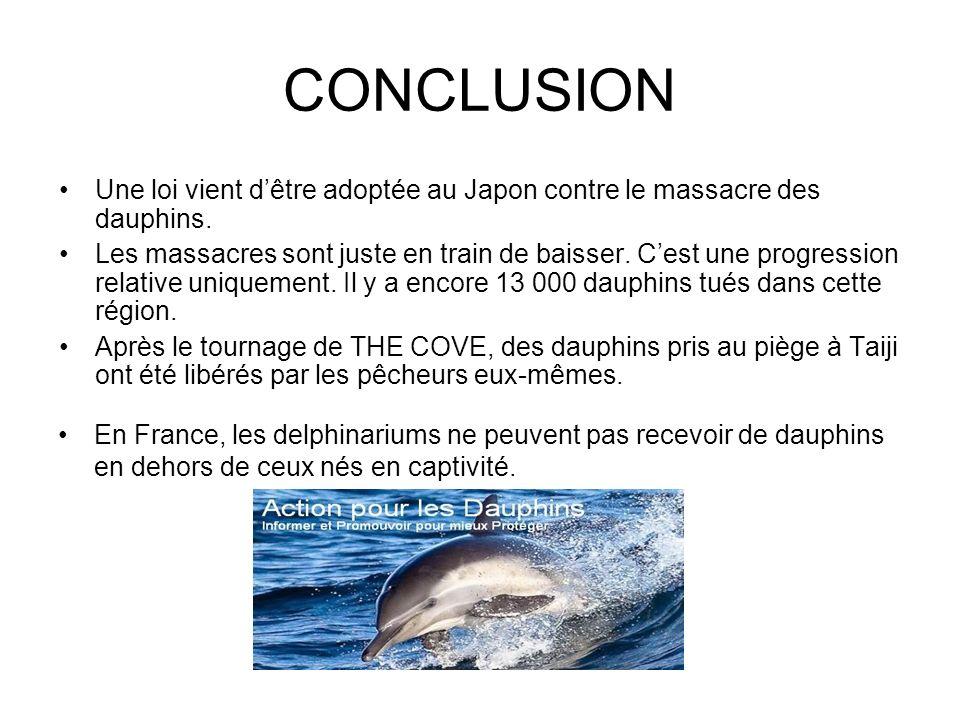 CONCLUSION Une loi vient dêtre adoptée au Japon contre le massacre des dauphins. Les massacres sont juste en train de baisser. Cest une progression re