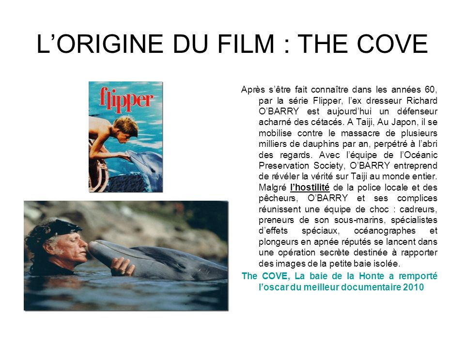 LORIGINE DU FILM : THE COVE Après sêtre fait connaître dans les années 60, par la série Flipper, lex dresseur Richard OBARRY est aujourdhui un défense