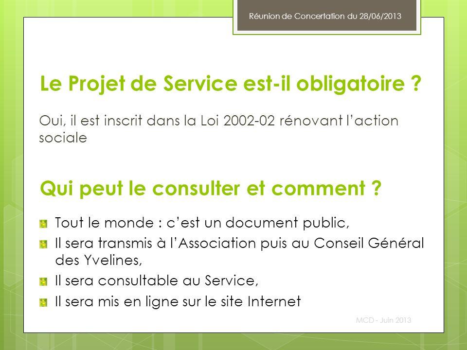 Le Projet de Service est-il obligatoire ? Oui, il est inscrit dans la Loi 2002-02 rénovant laction sociale MCD - Juin 2013 Qui peut le consulter et co