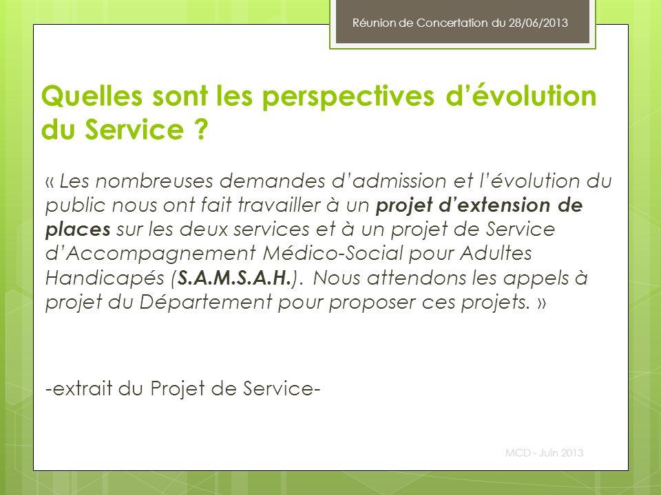 Quelles sont les perspectives dévolution du Service ? « Les nombreuses demandes dadmission et lévolution du public nous ont fait travailler à un proje
