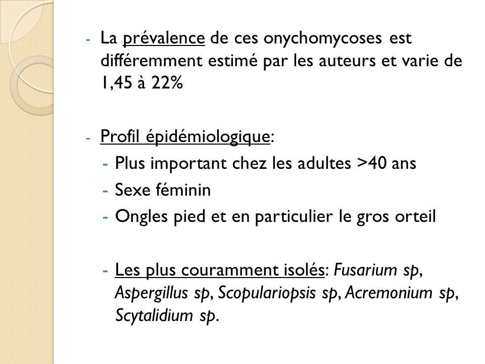 - La prévalence de ces onychomycoses est différemment estimé par les auteurs et varie de 1,45 à 22% - Profil épidémiologique: -Plus important chez les