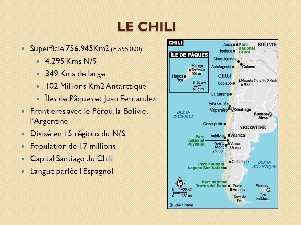 LE CHILI Superficie 756.945Km2 (F 555.000) 4.295 Kms N/S 349 Kms de large 102 Millions Km2 Antarctique Îles de Pâques et Juan Fernandez Frontières ave