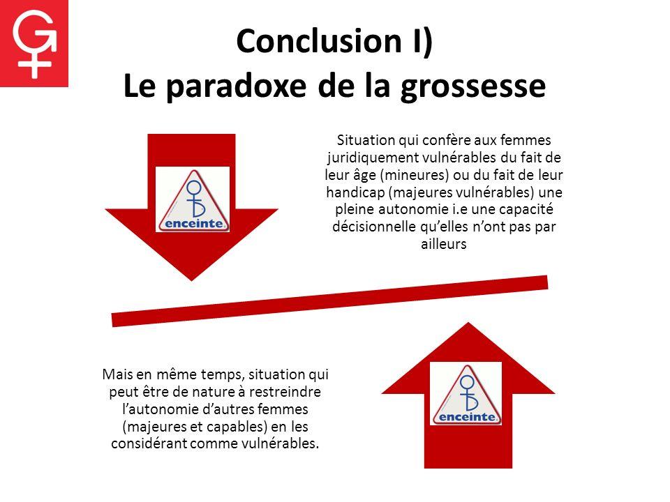 Conclusion I) Le paradoxe de la grossesse Situation qui confère aux femmes juridiquement vulnérables du fait de leur âge (mineures) ou du fait de leur