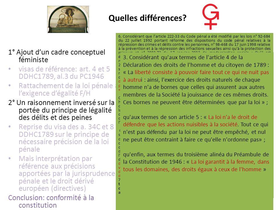 Quelles différences? 1° Ajout dun cadre conceptuel féministe visas de référence: art. 4 et 5 DDHC1789, al.3 du PC1946 Rattachement de la loi pénale à