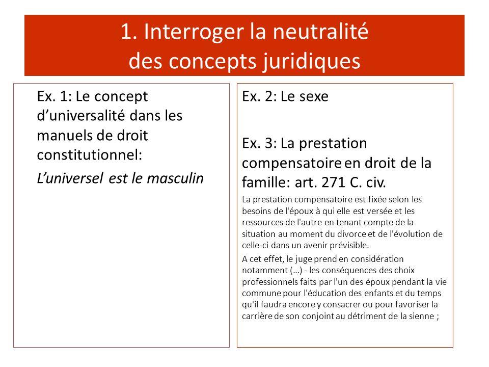 1. Interroger la neutralité des concepts juridiques Ex. 2: Le sexe Ex. 3: La prestation compensatoire en droit de la famille: art. 271 C. civ. La pres