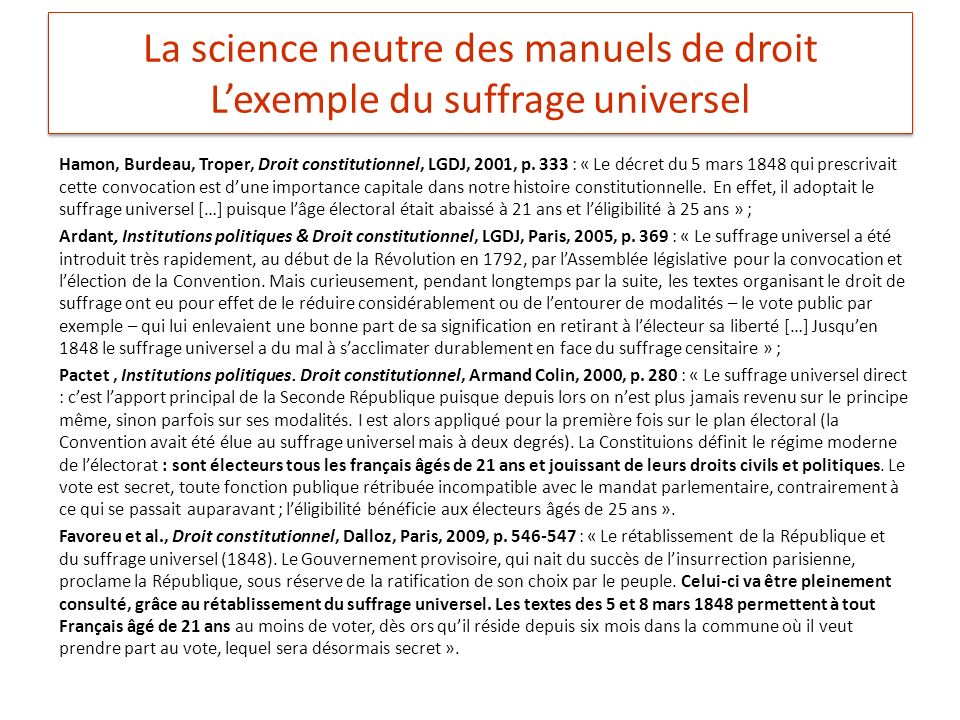 La science neutre des manuels de droit Lexemple du suffrage universel Hamon, Burdeau, Troper, Droit constitutionnel, LGDJ, 2001, p.
