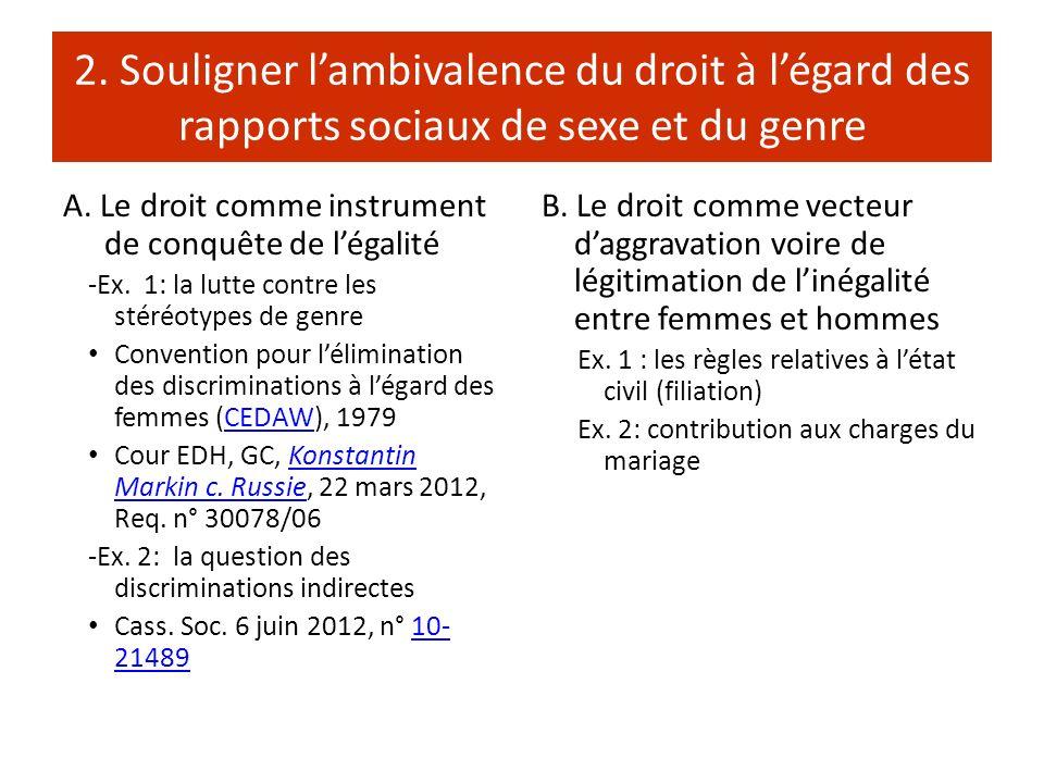 2. Souligner lambivalence du droit à légard des rapports sociaux de sexe et du genre A. Le droit comme instrument de conquête de légalité -Ex. 1: la l