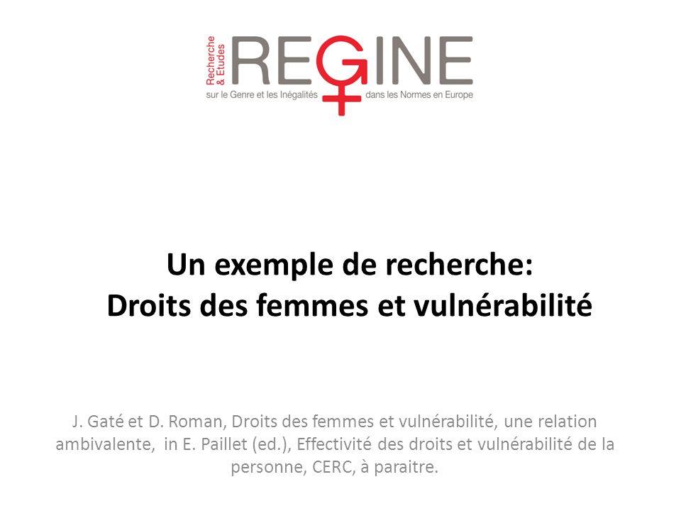 J. Gaté et D. Roman, Droits des femmes et vulnérabilité, une relation ambivalente, in E. Paillet (ed.), Effectivité des droits et vulnérabilité de la
