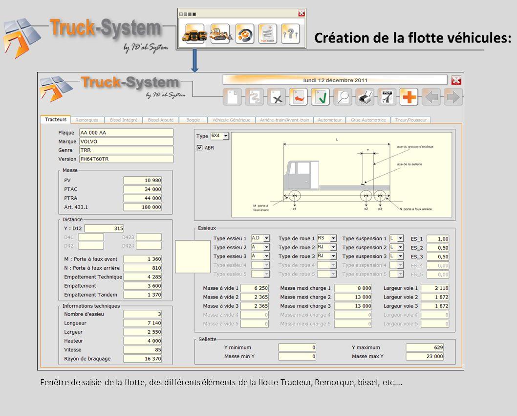 Création de la flotte véhicules: Fenêtre de saisie de la flotte, des différents éléments de la flotte Tracteur, Remorque, bissel, etc….