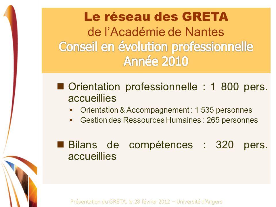 Présentation du GRETA, le 28 février 2012 – Université dAngers Orientation professionnelle : 1 800 pers. accueillies Orientation & Accompagnement : 1