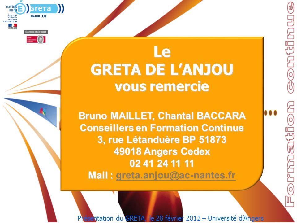 Présentation du GRETA, le 28 février 2012 – Université dAngers …………………….. Le GRETA DE LANJOU vous remercie Bruno MAILLET, Chantal BACCARA Conseillers