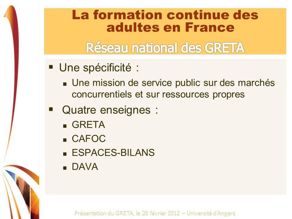 Présentation du GRETA, le 28 février 2012 – Université dAngers Une spécificité : Une mission de service public sur des marchés concurrentiels et sur r