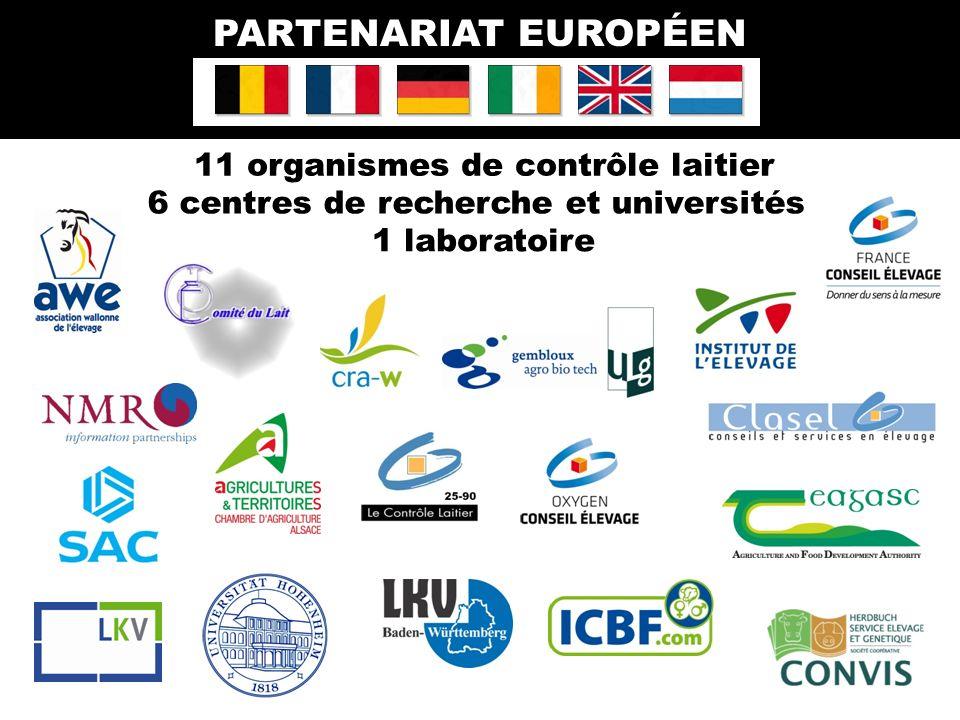 11 organismes de contrôle laitier PARTENARIAT EUROPÉEN 1 laboratoire 6 centres de recherche et universités