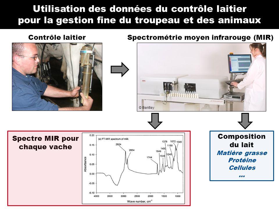 Contrôle laitierSpectrométrie moyen infrarouge (MIR) Spectre MIR pour chaque vache Composition du lait Matière grasse Protéine Cellules... Utilisation