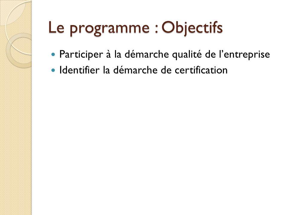 Le programme : Objectifs Participer à la démarche qualité de lentreprise Identifier la démarche de certification