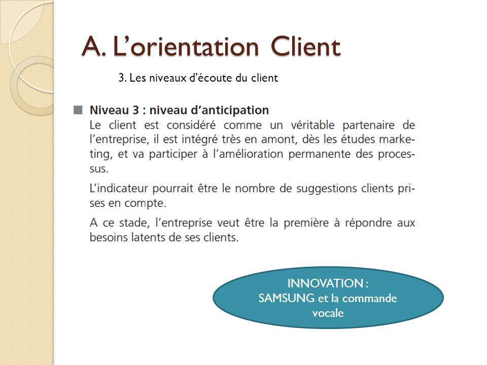 A. Lorientation Client 3. Les niveaux découte du client INNOVATION : SAMSUNG et la commande vocale