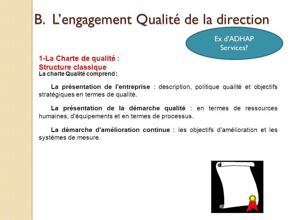 La charte Qualité comprend : La présentation de l'entreprise : description, politique qualité et objectifs stratégiques en termes de qualité. La prése