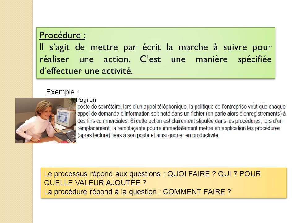 Procédure : Il sagit de mettre par écrit la marche à suivre pour réaliser une action. Cest une manière spécifiée deffectuer une activité. Procédure :