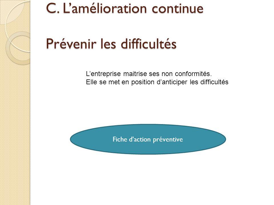 C. Lamélioration continue Prévenir les difficultés Fiche daction préventive Lentreprise maitrise ses non conformités. Elle se met en position danticip