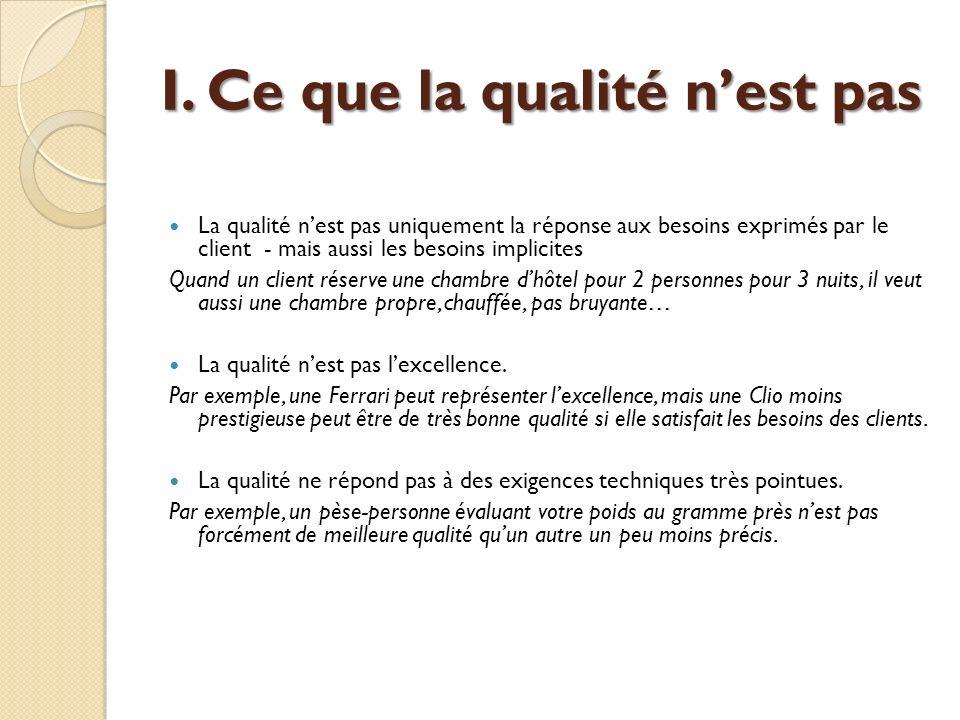 La qualité nest pas uniquement la réponse aux besoins exprimés par le client - mais aussi les besoins implicites Quand un client réserve une chambre d