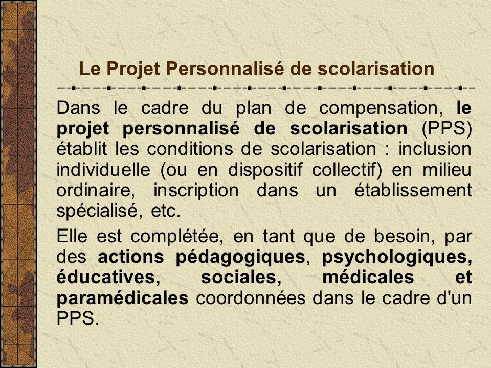 Le Projet Personnalisé de scolarisation Dans le cadre du plan de compensation, le projet personnalisé de scolarisation (PPS) établit les conditions de